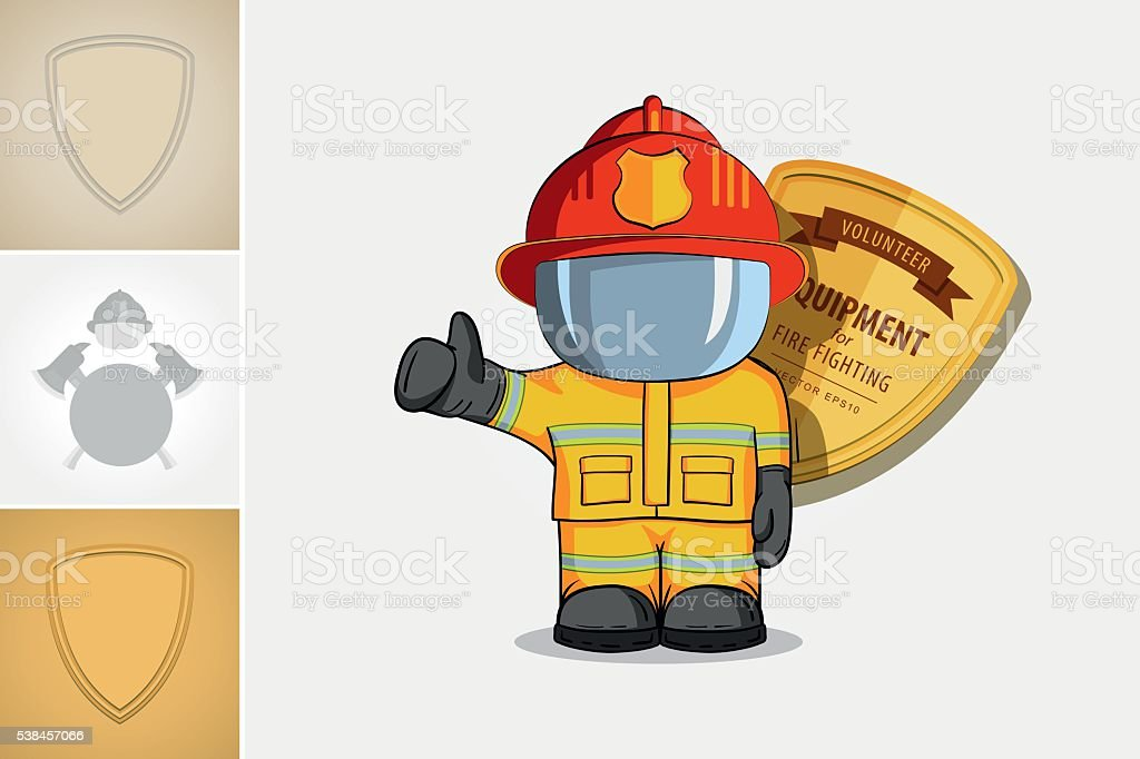 Vector hand drawn illustration. Isolated character firefighter in protective suit vector art illustration
