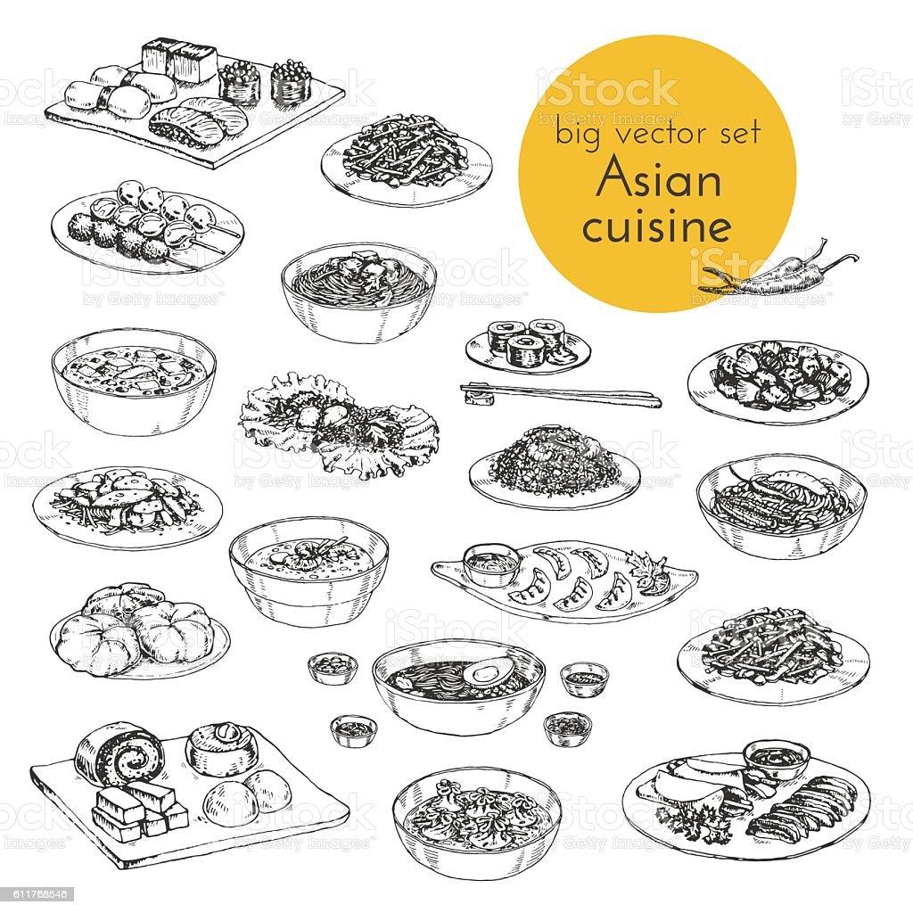 Vector hand drawn illustration of Asian dishes vector art illustration