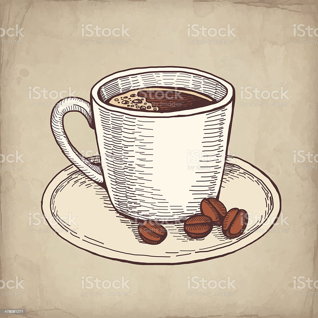 Vector hand drawn illustration of coffee cup royalty-free stock vector art