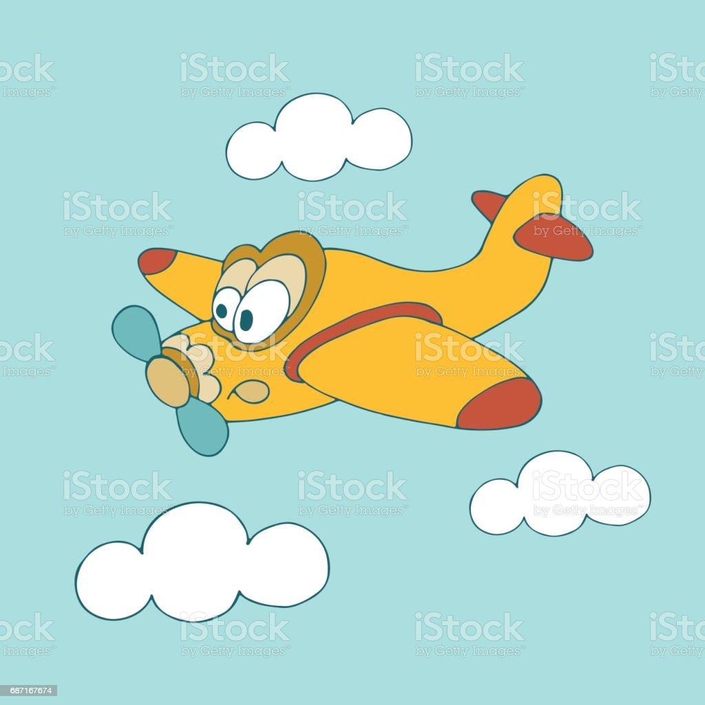 Sevimli çizgi Rengi Mavi Gökyüzü Arka Plan Bulutlar Ile Uçakta