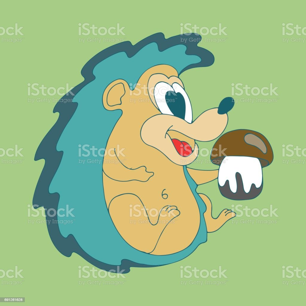 Vector Hand Drawn Illustration Of Cute Cartoon Color Hedgehog With ...