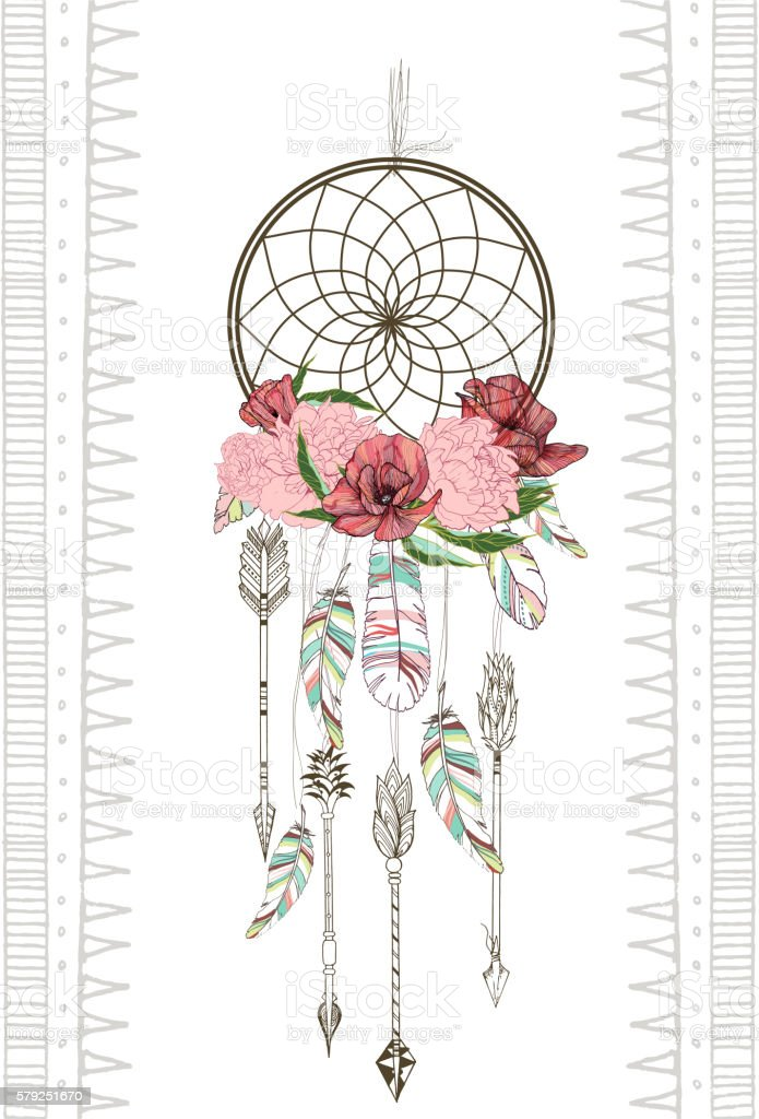 Vector hand drawn illustration of dreamcatcher. - Illustration vectorielle