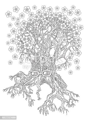 vector hand drawn illustration of fantasy old  tree-grandmother in eyeglasses with spring flowers. Doodle sketch isolated on a white background. Arbor day greeting card, humorous poster, T-shirt print. Monochrome black and white coloring book page.