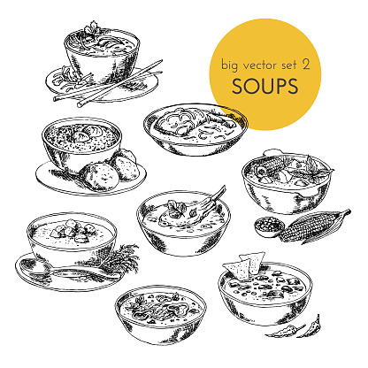 Vector hand drawn illustration with a soups set of different cuisines.  dishes of different countries.