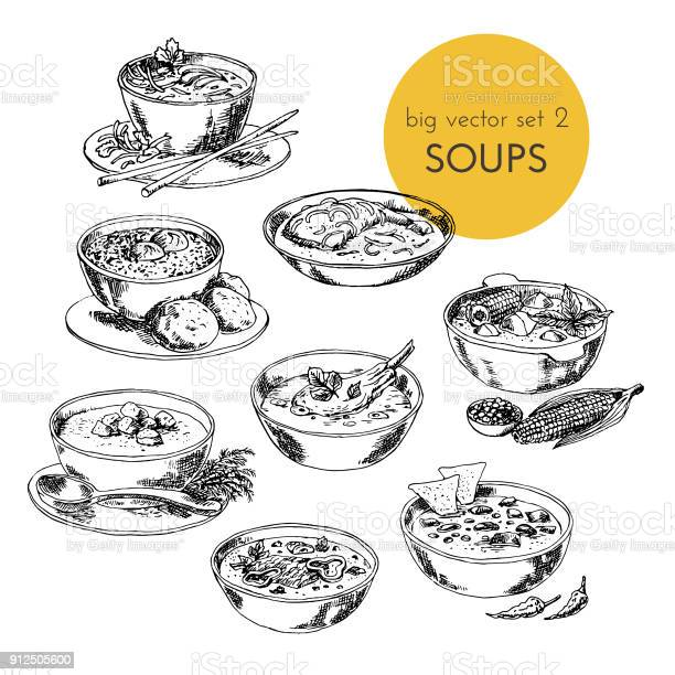 Vector hand drawn illustration with a soups set of different cuisines vector id912505600?b=1&k=6&m=912505600&s=612x612&h=gazx60eswqklogaux7qms qegyhg88odjxtpt4sbfeq=