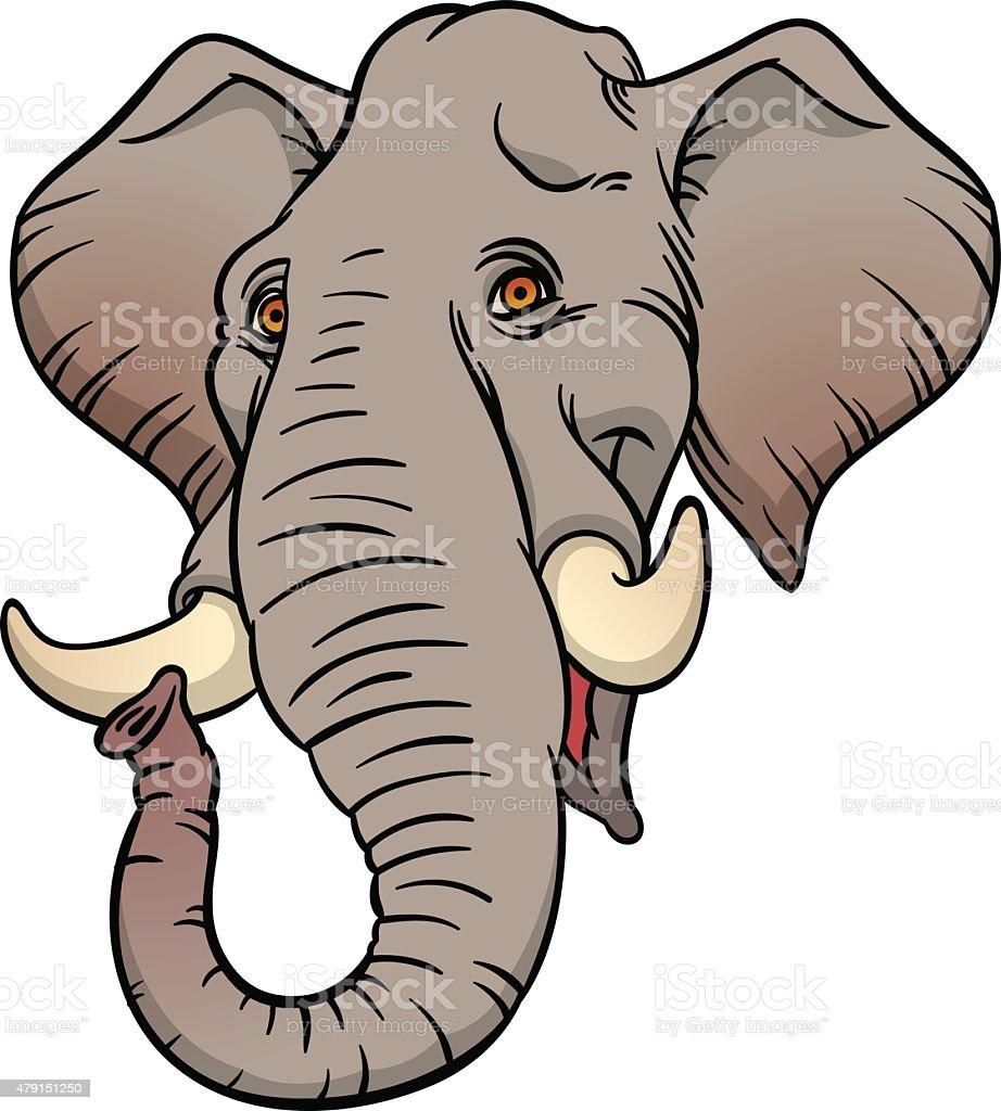 Vector hand drawn illustration with elephant head vector art illustration