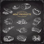 Vector hand drawn Illustration with meat products.