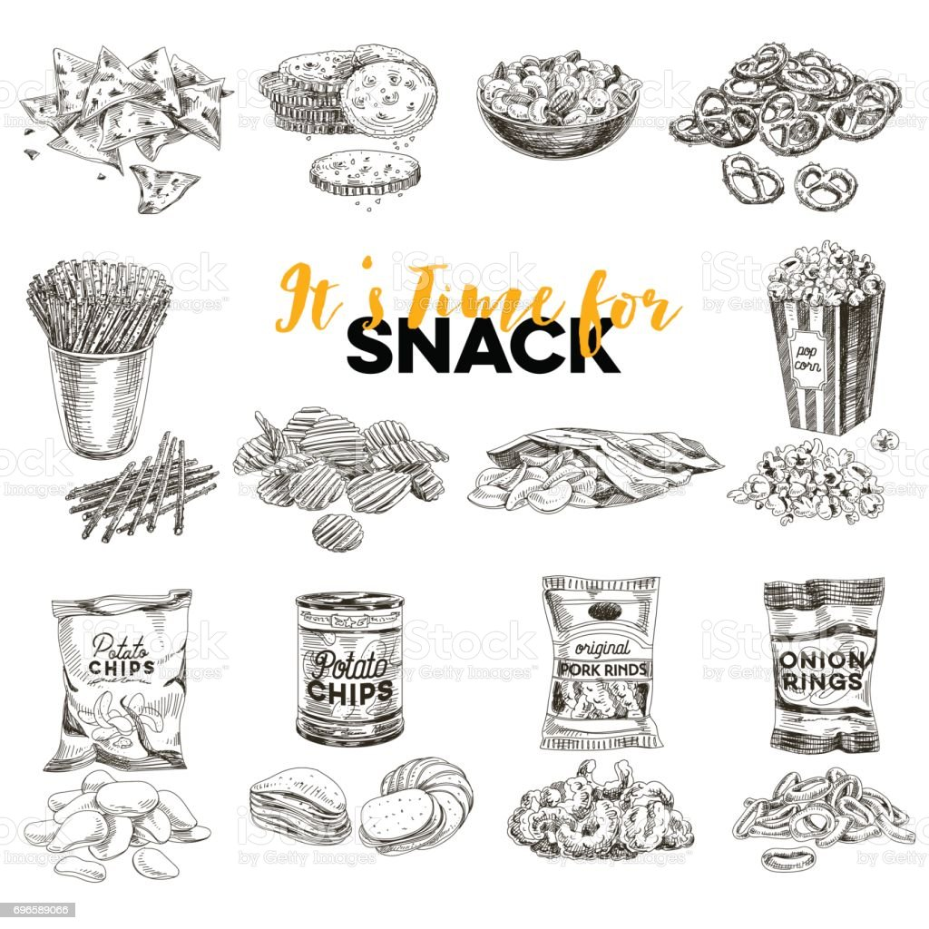 Vector hand drawn Illustration with retro snack staff. vector art illustration