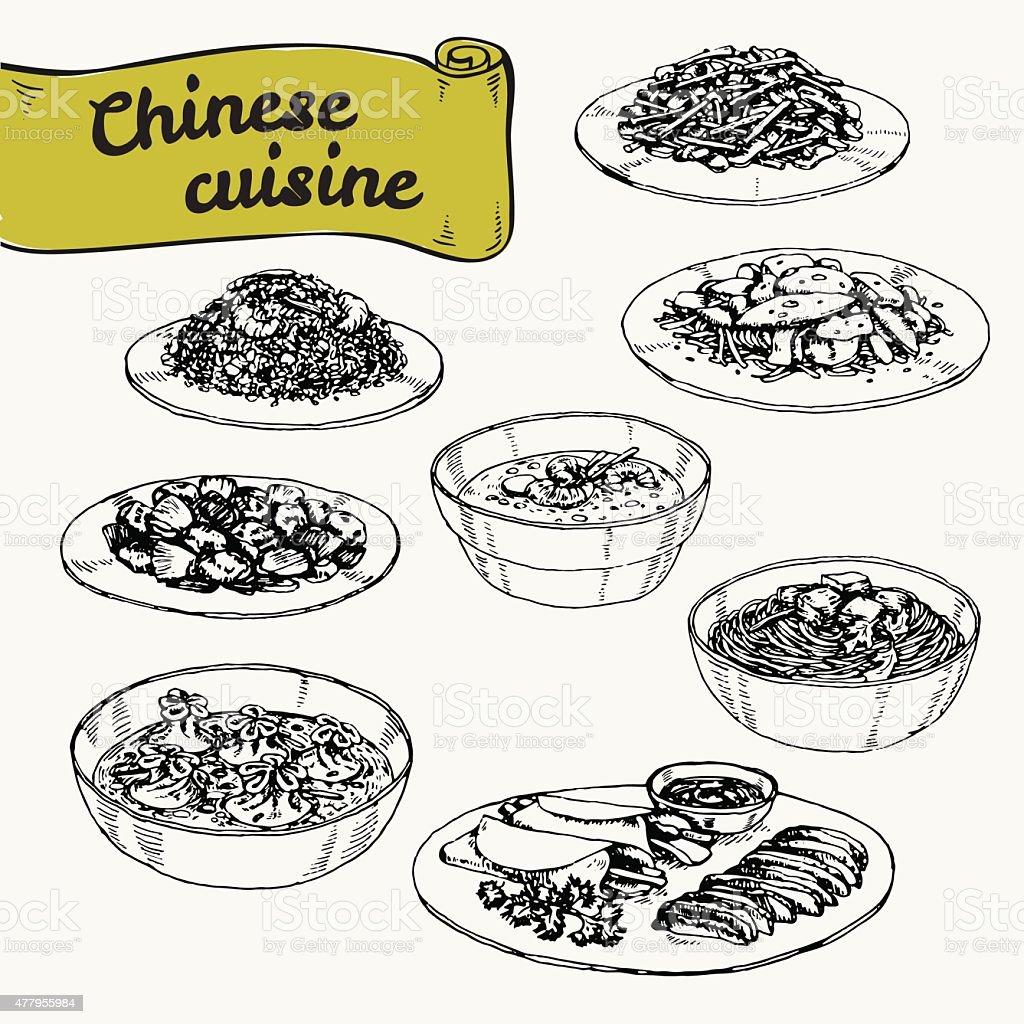 ベクトルの手描きイラストセット料理の中華料理 ベクターアートイラスト