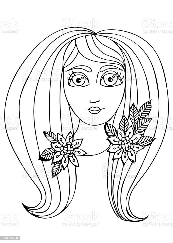Ilustración de Mujer De Ilustración Dibujado Mano De Vector Con El ...