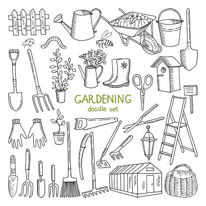 Vector hand drawn illustrations of gardening. Different doodle elements set for garden work