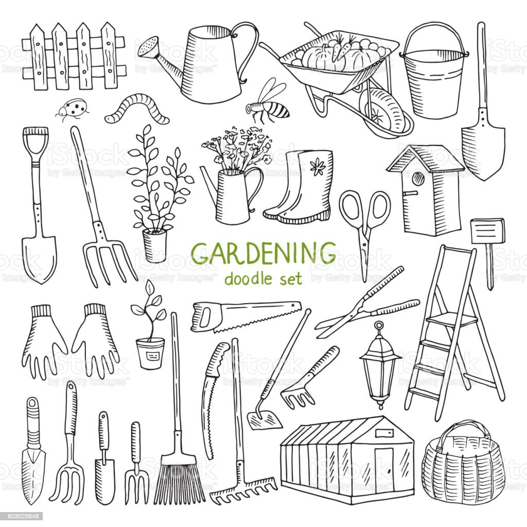 Vector hand drawn illustrations of gardening. Different doodle elements set for garden work vector art illustration