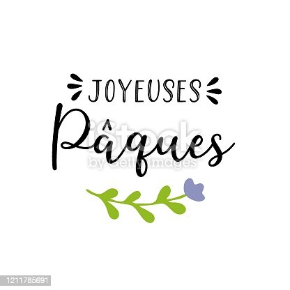 """istock Vector hand drawn """"Joyeuses Paques"""" quote in French, translated Happy Easter. Modern Calligraphy, lettering for ad, poster, print, gift decoration. 1211785691"""