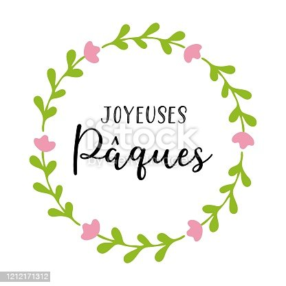 """istock Vector hand drawn """"Joyeuses Paques"""" quote in French with wreath in pastel colors, translated Happy Easter. Modern Calligraphy, lettering for ad, poster, print, gift decoration. 1212171312"""