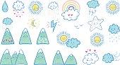 Vector hand drawn kids fashion doodles: sun, cloud, star, mountain, rain, rainbow, lightning. Cute weather set of cartoon stickers, patches, pins