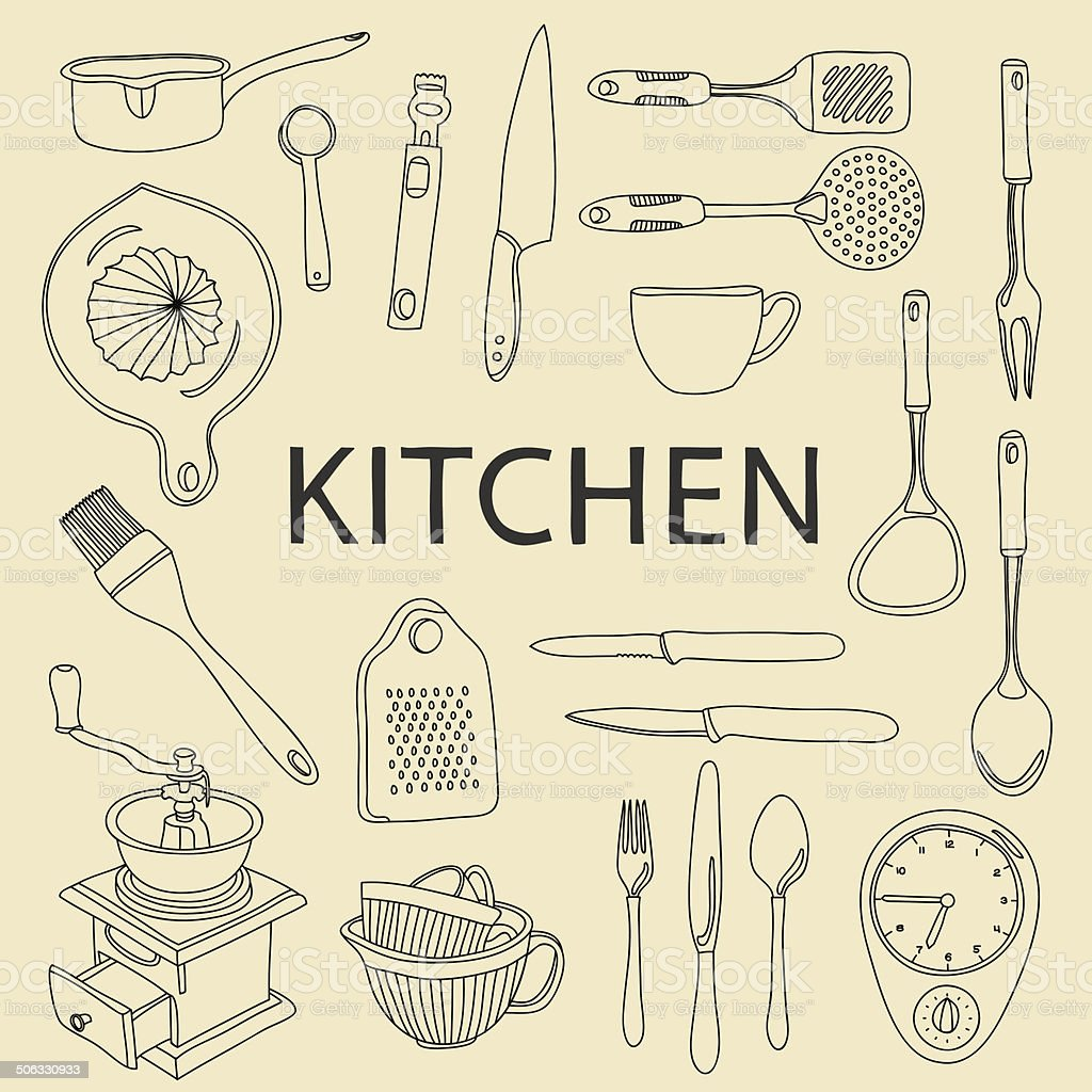 Vector hand drawn kitchen equipment and tableware vector art illustration