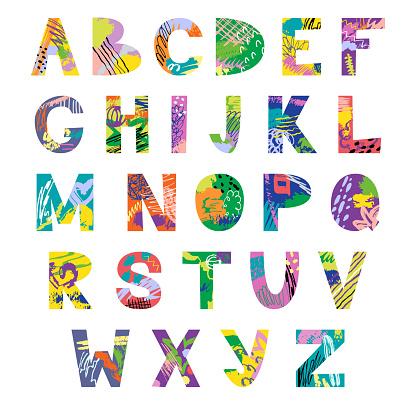 Vector hand drawn latin artistic alphabet