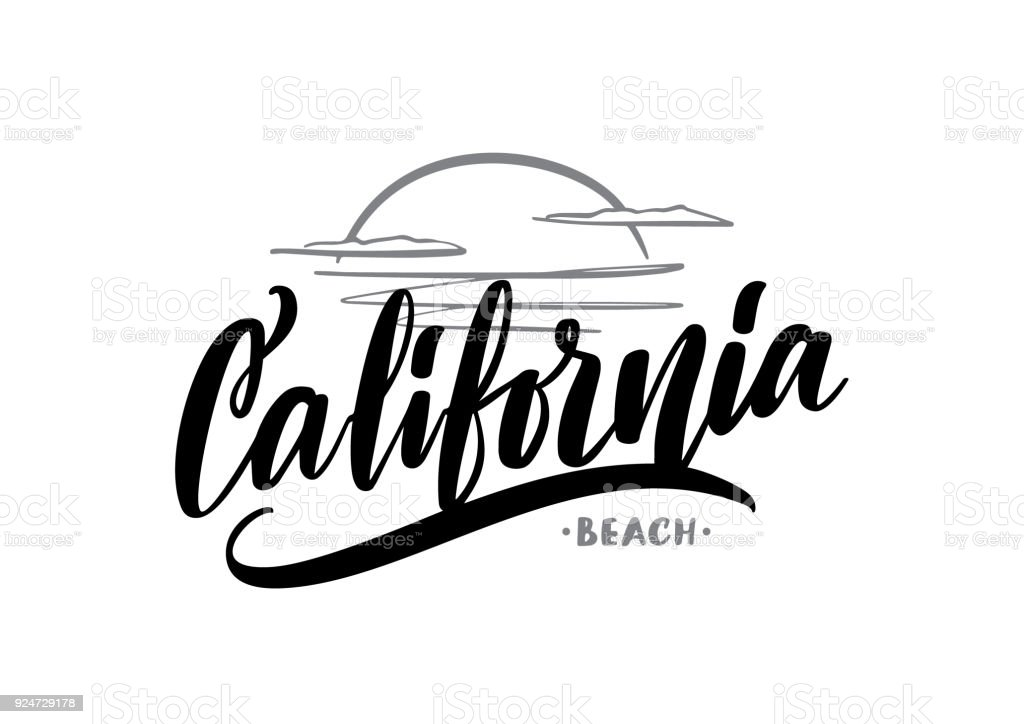 Download Vector Hand Drawn Lettering Composition Of California ...