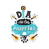 Vector hand drawn lettering Dia de los Muertos, Day of the Dead design