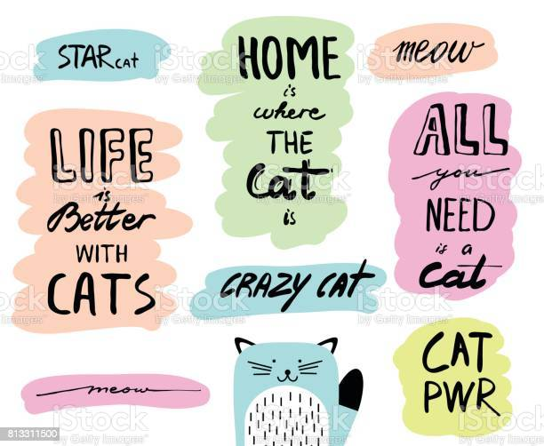 Vector hand drawn lettering quotes about cats inspirational doodle vector id813311500?b=1&k=6&m=813311500&s=612x612&h=brjm kfke1vrpyuxa2ltfeijdk65nhipk 84zc o os=