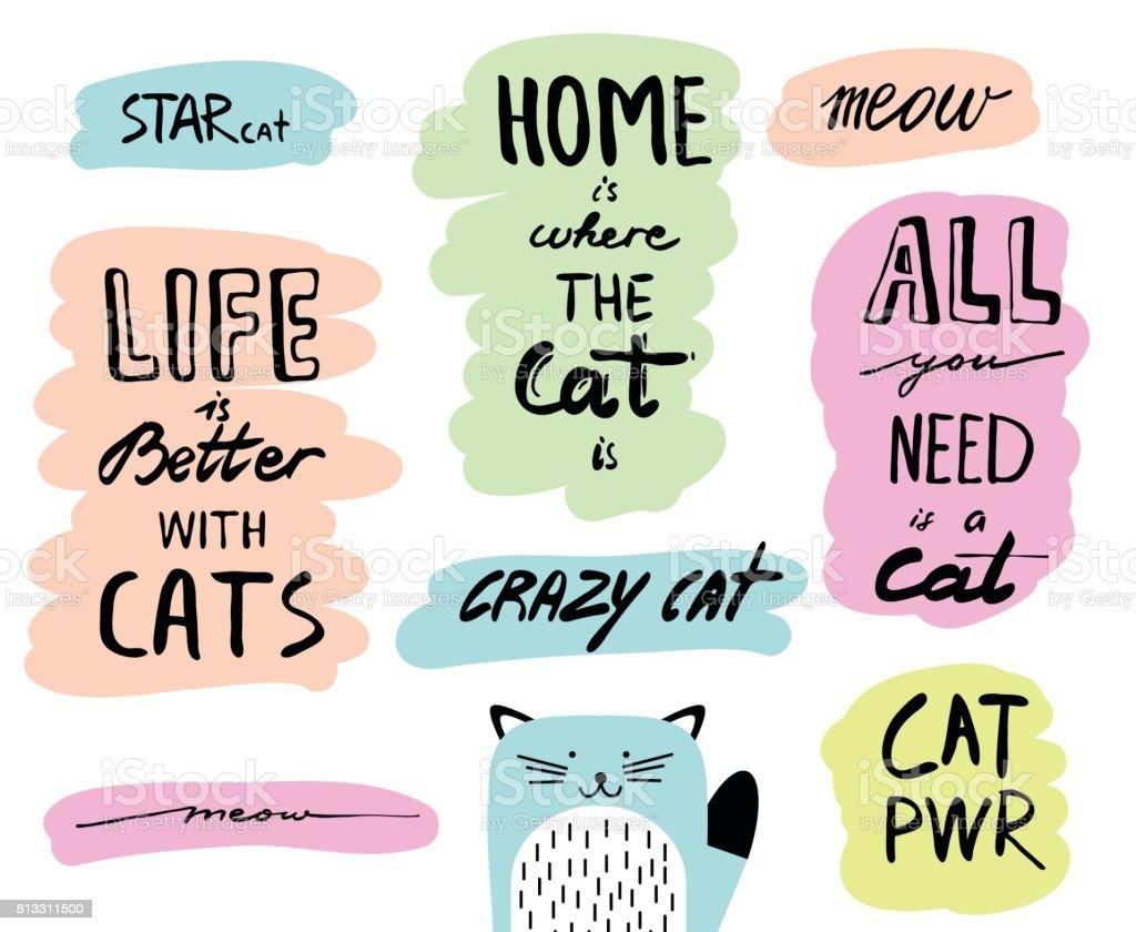 Vektor handgezeichnete Schriftzug Zitate über Katzen. Inspirierende Doodle Typografie für Broschüre, Flyer, Plakate, Karten. – Vektorgrafik