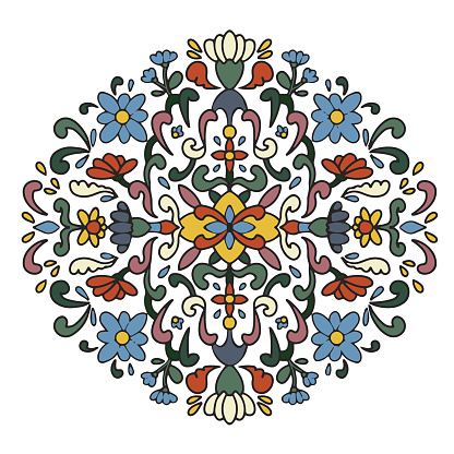 Vector, hand drawn, line art. Flowers, branches and leaves in botanical composition. Vegetal natural ornamentation. Mandala. Various abstract shapes and lines. Tile stencil