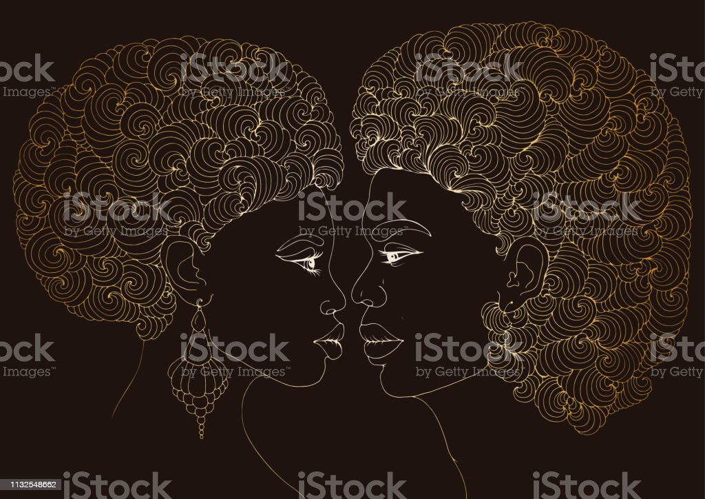 Vector drawn love kissing couple African American girl and the guy....
