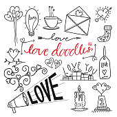 Vector hand drawn love themed doodles. Suitable for using as design elements, scrapbook designs, stickers etc.