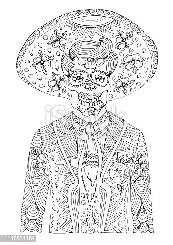 istock Vector hand drawn man with sugar skull calavera makeup with patterned sombrero on his head. Mexican holiday Day of the Dead. Halloween. Graphic design for design card, t-shirt Coloring page A4 size. 1147824184