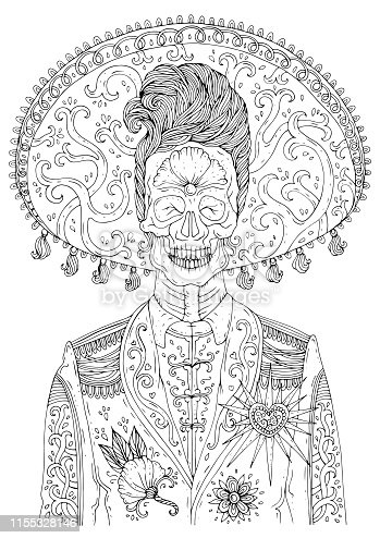 istock Vector hand drawn man with sugar skull calavera makeup with patterned sombrero on his head. Mexican holiday Day of the Dead. Halloween. Graphic design, print on t-shirt Coloring page for adults A4 1155328146