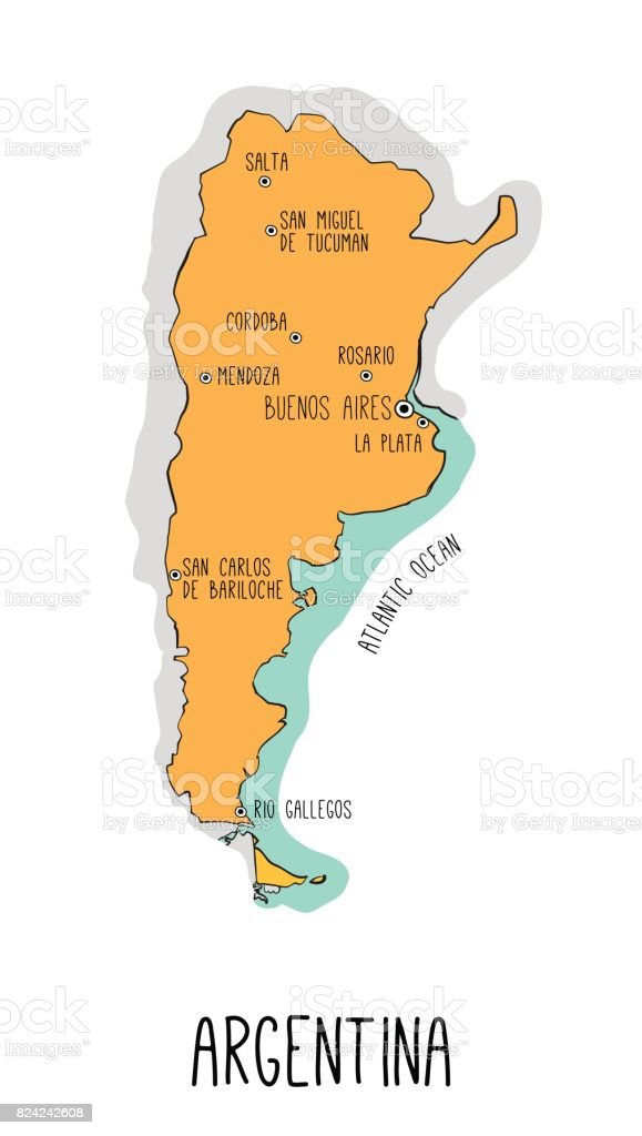 Vector Hand Drawn Map Of Argentina With Main Cities Stock Vector - Argentina map cities