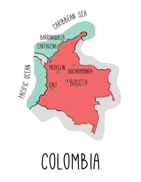vektor hand gezeichnete karte von kolumbien mit den wichtigsten städten. - cartagena stock-grafiken, -clipart, -cartoons und -symbole