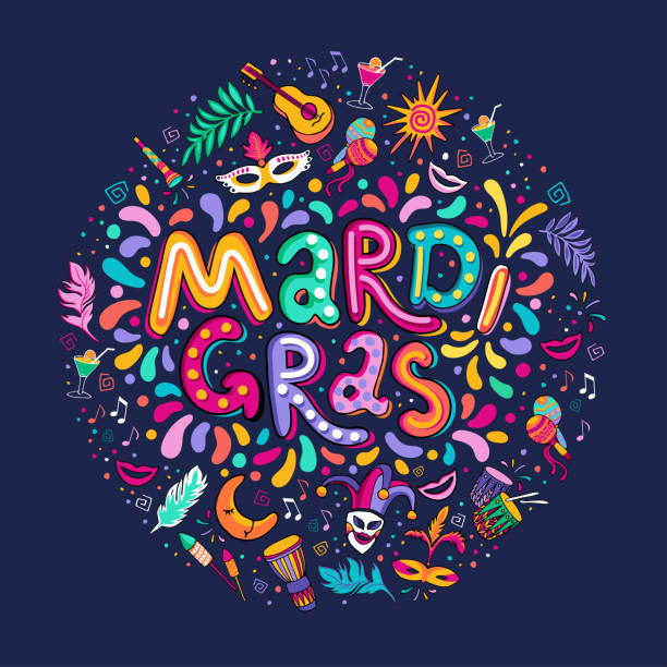 vector hand drawn mardi gras lettering text inscription round shape. carnival colorful party elements confetti fireworks - mardi gras stock illustrations, clip art, cartoons, & icons