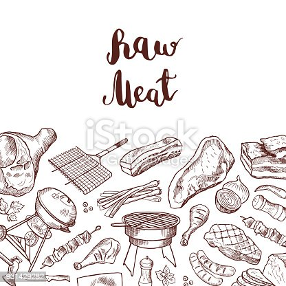 Vector hand drawn meat elements background illustration with lettering. Sketch barbecue and grilled drawing meat