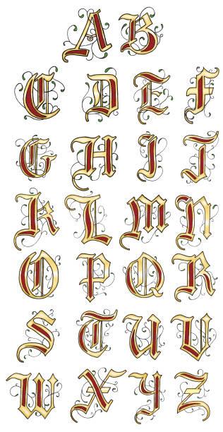 vector hand drawn medieval alphabet - средневековье stock illustrations