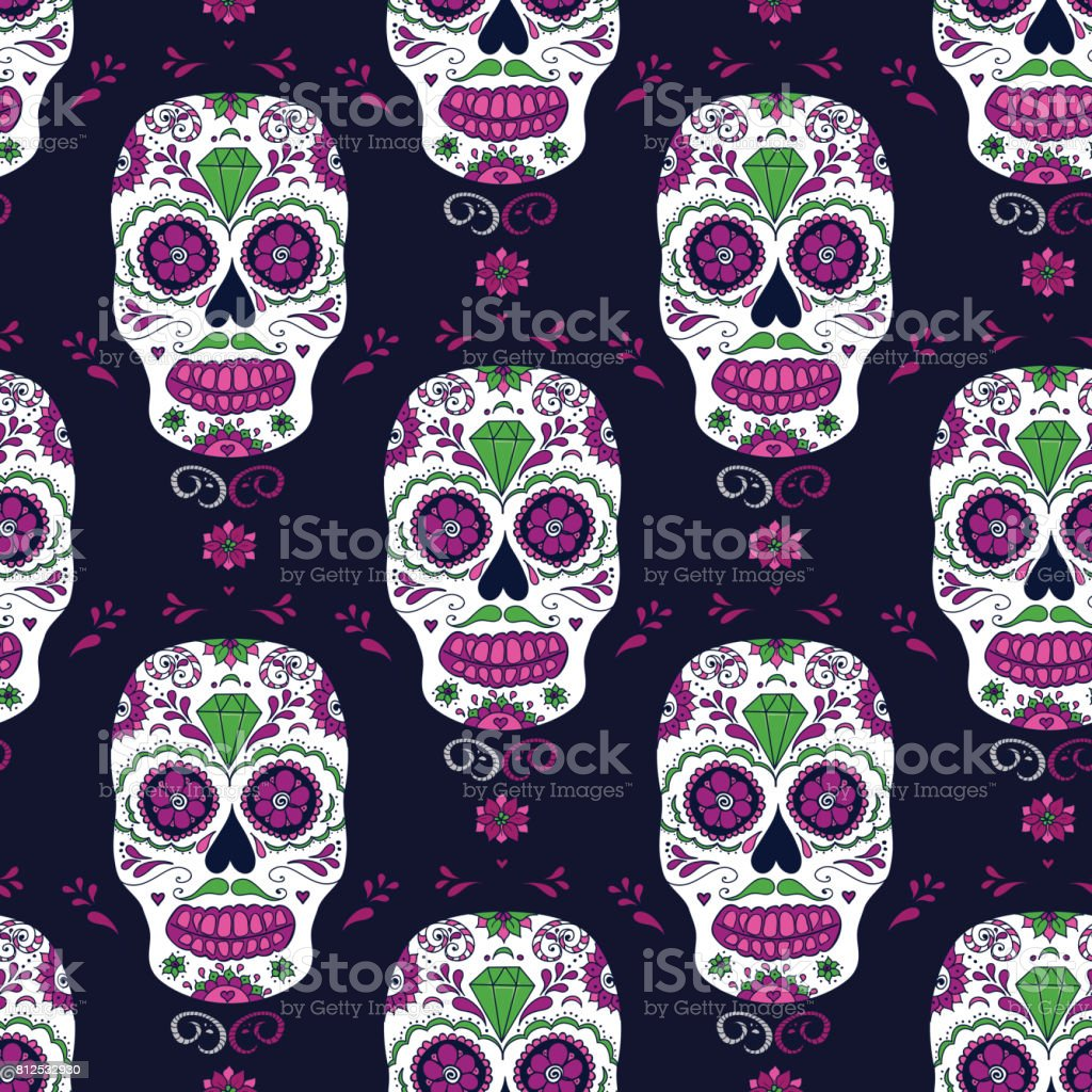 Vector hand drawn Mexican Day of The Dead seamless pattern vector art illustration