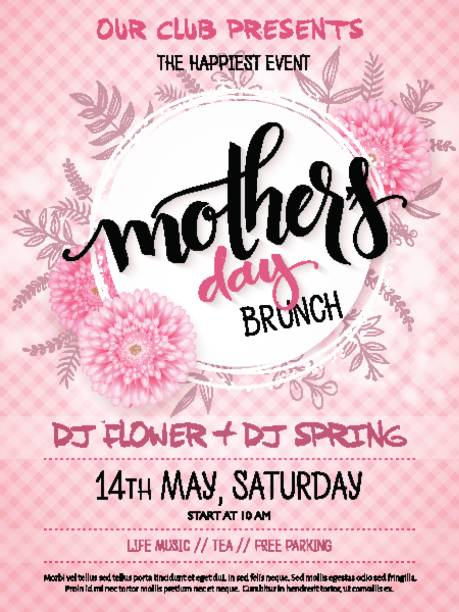 vector hand drawn mothers day event poster with blooming chrysanthemum flowers hand lettering text - mothers day and luminosity flares on checkered background vector hand drawn mothers day event poster with blooming chrysanthemum flowers hand lettering text - mothers day and luminosity flares on checkered background. brunch stock illustrations