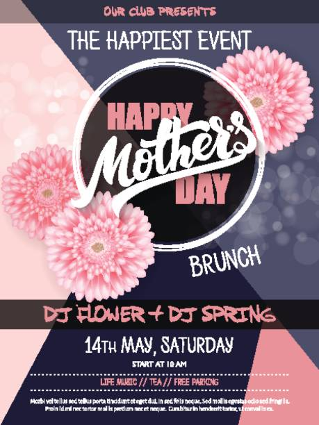 vector hand drawn mothers day event poster with blooming chrysanthemum flowers hand lettering text - mother's day and luminosity flares vector hand drawn mothers day event poster with blooming chrysanthemum flowers hand lettering text - mother's day and luminosity flares. brunch stock illustrations