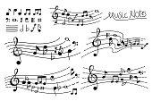 Hand Drawn Music note pentagram sketches vector illustration