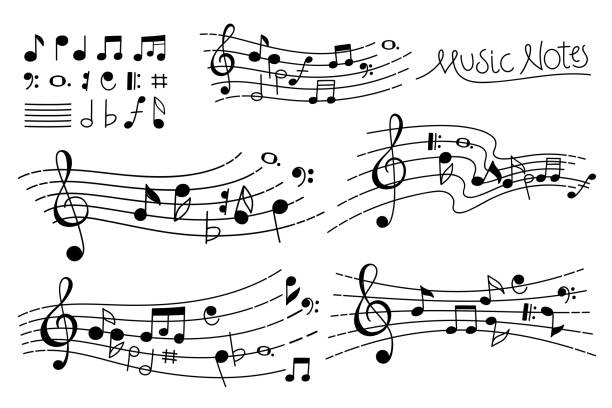 vector hand drawn music pentagrams - zapis nutowy stock illustrations