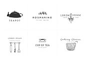 Kitchen and food set of vector hand drawn label templates. Isolated symbols for business branding and identity, for food blogs and websites, for grocery stores and cooking classes.