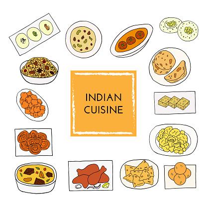 Vector hand drawn of indian cuisine set with aloo gobi, biryani, curry, malai kofta, naan, navratan, pakora, rasmalai. Design sketch element for menu cafe, bistro, restaurant, bakery and packaging. Illustration on a white background.