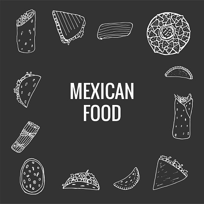 Vector hand drawn of mexican food. A set of mexican dishes with burritos, quesadillas, empanadas, tacos, tamales, nachos. Design sketch for menu cafe, restaurant, label and packaging. Vector illustration on grey background.