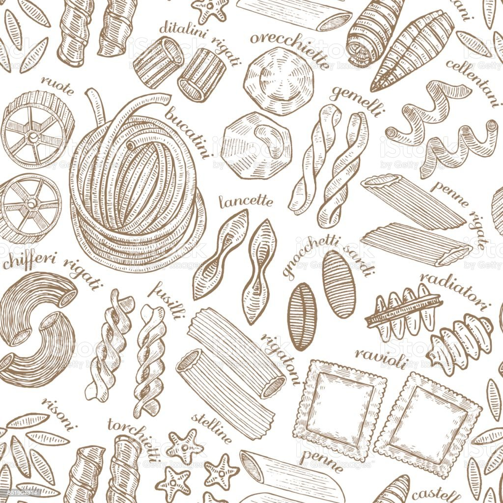 vector hand drawn pasta background vector art illustration