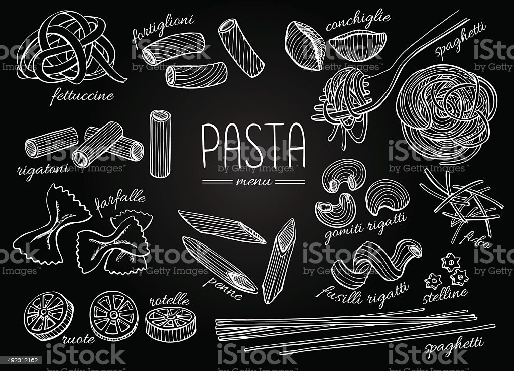 Vector hand drawn pasta menu. Vintage chalkborad line art illust vector art illustration