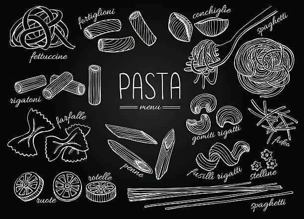 Vector hand drawn pasta menu. Vintage chalkborad line art illust Vector hand drawn pasta menu. Vintage chalkboard line art illustration. pasta stock illustrations