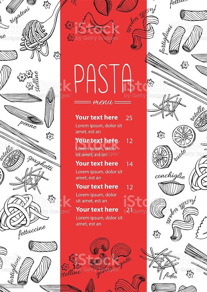 Vector hand drawn pasta menu. Vintage  line art illustration vector art illustration