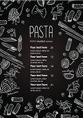 Vector hand drawn pasta menu. Vintage  line art illustration for your business
