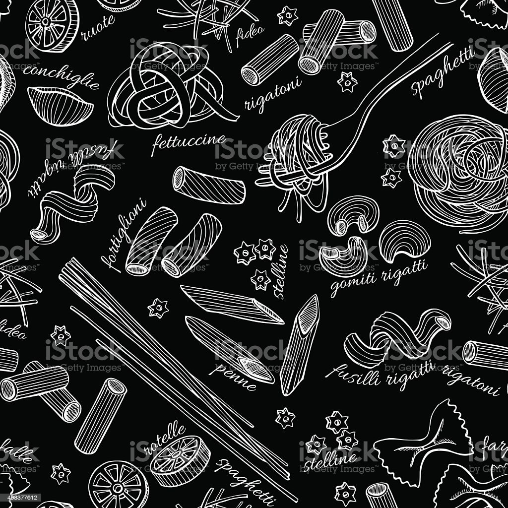 Vector hand drawn pasta pattern. vector art illustration