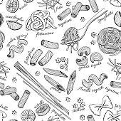 Vector hand drawn pasta pattern. Vintage line art illustration